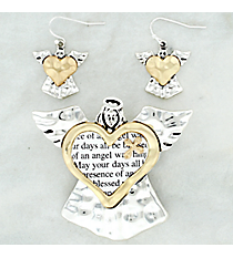 Two-Tone Angel Blessing Pendant and Earring Set #AC1244-TT