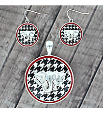 Houndstooth and Red Elephant Pendant and Earring Set #AC1280-ASR