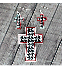 Houndstooth with Red Trim Cross Pendant and Earring Set #AC1281-ASR