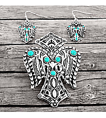 Turquoise Beaded Silvertone Aztec Winged Cross Pendant and Earring Set #AC1388-ASTQ