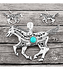 Turquoise Beaded Silvertone Aztec Horse Pendant and Earring Set #AC1390-ASTQ