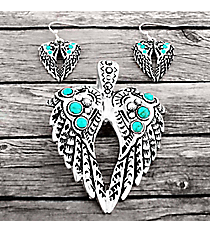 Turquoise Beaded Silvertone Aztec Wings Pendant and Earring Set #AC1391-ASTQ
