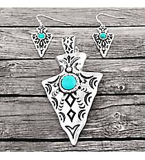 Turquoise Beaded Silvertone Aztec Arrowhead Pendant and Earring Set #AC1394-ASTQ