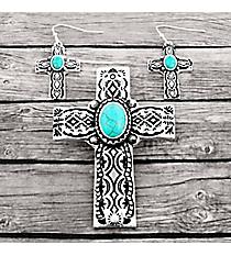 Turquoise Beaded Silvertone Aztec Cross Pendant and Earring Set #AC1395-ASTQ