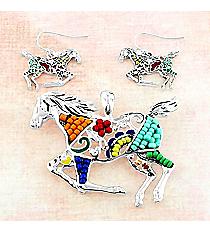 Rainbow Mosaic Horse Pendant and Earrings Set #AC1404-ASMX