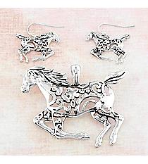 Silvertone Mosaic Horse Pendant and Earrings Set #AC1413-AS