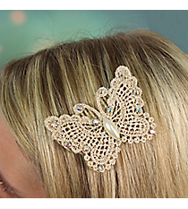 Crystal Accented Butterfly Velcro Hair Accessory #IH0113-N
