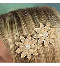 Pearl Accented Flower Velcro Hair Accessory #IH0117-N