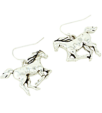 Silvertone Horse Dangling Earrings #AE1274-AS