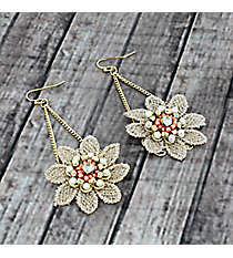 Dangling Pearl and Orange Beaded Lace Flower Earrings #AE1284-GO