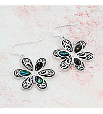 Silvertone Scroll and Abalone Flower Earrings #AE1412-SAV