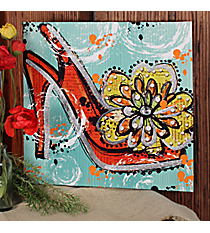 "18.75"" x 18.75"" High Heel Shoe Print Canvas Plaque #AFEB0003"