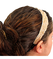 Gold and Pink Beaded Headband #AH0029-WGP