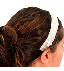 White and Silver Beaded Headband #AH0030-WSW
