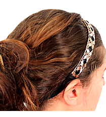 Black and Gold Beaded Headband #AH0032-JGJ