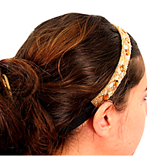 Gold and Champagne Beaded Headband #AH0032-WGN