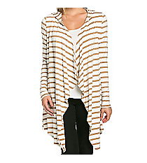 Stripe My Life Hooded Cardigan, Tan #AJK-2074RS-A17 *Choose Your Size