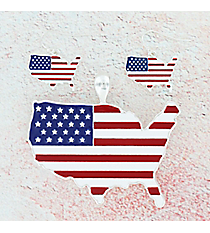 American Flag USA Map Pendant and Earrings Set #AC1359-SMR