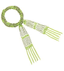 "70"" Beaded Green Scarf Necklace #AN0432-RHE2"