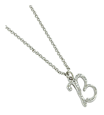 "Silvertone ""B"" Initial Necklace #AN0488-RHB"