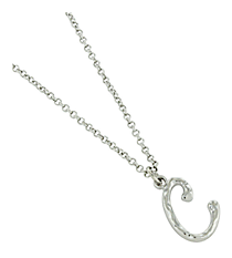 "Silvertone ""C"" Initial Necklace #AN0488-RHC"