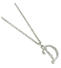"Silvertone ""D"" Initial Necklace #AN0488-RHD"