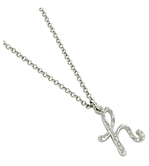 "Silvertone ""H"" Initial Necklace #AN0488-RHH"