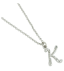 "Silvertone ""K"" Initial Necklace #AN0488-RHK"