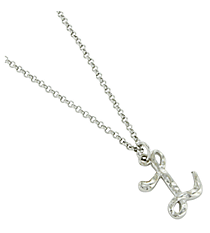 "Silvertone ""L"" Initial Necklace #AN0488-RHL"