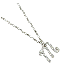 "Silvertone ""M"" Initial Necklace #AN0488-RHM"