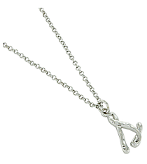 "Silvertone ""S"" Initial Necklace #AN0488-RHS"