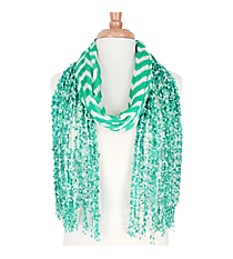 Mint Green Chevron Open Weave Scarf #AN0591-E