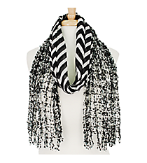 Black and White Chevron Open Weave Scarf #AN0591-JW