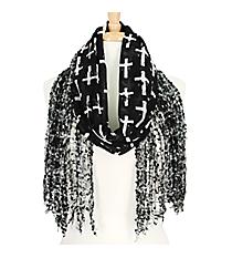 Black and White Cross Open Weave Scarf #AN0596-JW