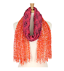 Pink and Orange Cross Open Weave Scarf #AN0596-P