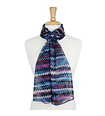 "64"" Purple and Blue Multi-Color Chevron Scarf #AN0600-M"