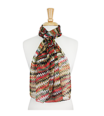 "64"" Coral and Green Multi-Color Chevron Scarf #AN0600-MT1"