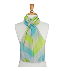 "72"" Aqua and Lime Chevron Scarf #AN0603-E"