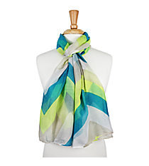 "72"" Blue and Lime Chevron Scarf #AN0603-MT2"