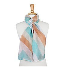 "72"" Aqua and Orange Chevron Scarf #AN0603-MT3"