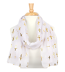 White with Gold Sideways Cross Scarf  #AN0615-GW