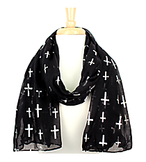 Black with Silver Sideways Cross Scarf  #AN0615-SJ