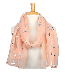 Pink with Silver Sideways Cross Scarf  #AN0615-SP