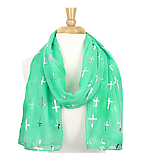 Turquoise with Silver Sideways Cross Scarf  #AN0615-STQ
