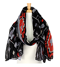 Black Multi-Color Southwestern Print Scarf #AN0619-J