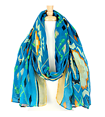 Blue Multi-Color Southwestern Print Scarf #AN0619-M
