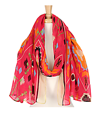 Pink Multi-Color Southwestern Print Scarf #AN0619-P