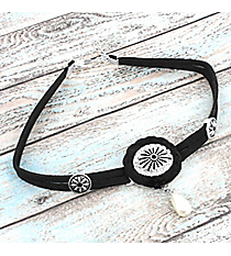 Western Black Faux Leather and Crystal Medallion Choker #AN0823-WSJ