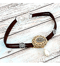 Western Brown Faux Leather and Crystal Medallion Choker #AN0823-WTTB