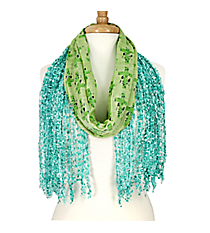 Turquoise and Green Cross Open Weave Scarf #AN0596-TQ
